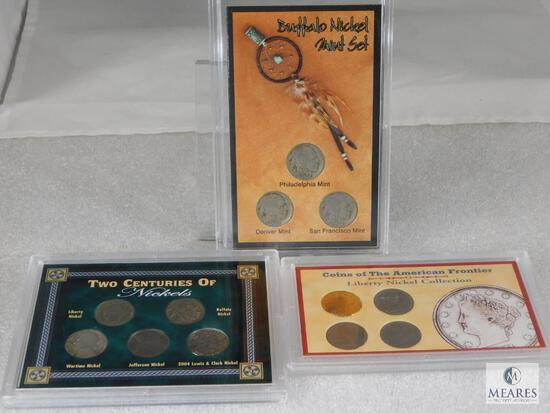 3 Nickels Sets; Coins of The American Frontier Liberty Nickels with a Gold Plated One