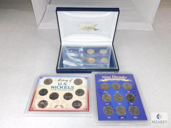 3 Nickel Sets: 9 Decades of American Nickels, History of US Nickels, Lewis & Clark Westward Journey