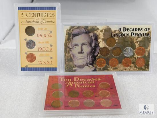 3 Lincoln Cent Sets 9 Decades of Lincolns, 10 Decades of American Pennies & 3 Centuries