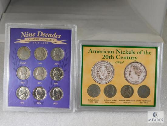 2 Nickel Sets: 9 Decades of Nickels & 20th Century Nickels includes WWII Silver one