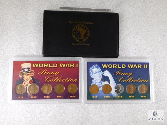 3 Lincoln Cent Sets WWI, WWII & 5 Types of Composition from 1909-2001