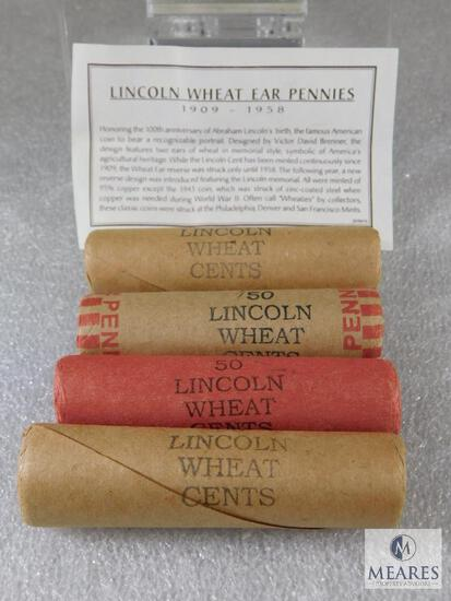 4 Rolls Bank Wrapped Wheat Cents - Unsearched by Owner