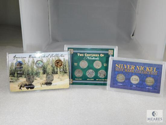 Three Different Nickel Sets includes Buffalo, Liberty, 24KT. Gold Plated & 4 Silver WWII