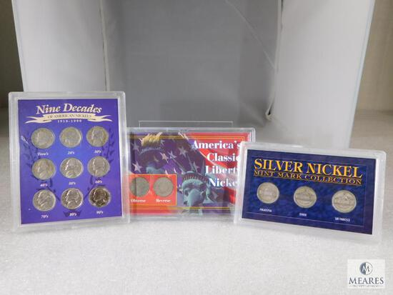 Three Different Nickel Sets includes Buffalo, Liberty & B-D-S Set of WWII Silver
