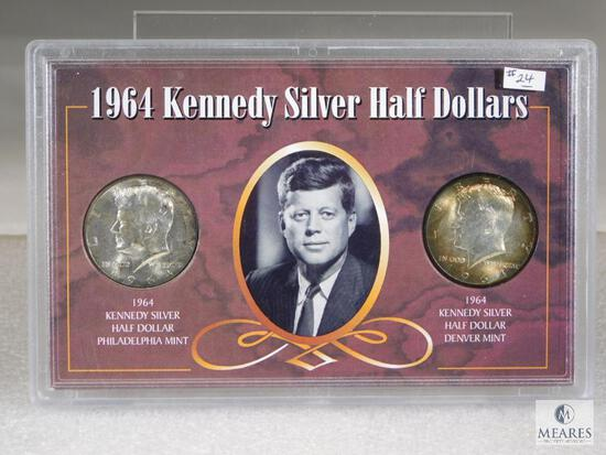 1964 Kennedy P&D Silver Halves in Display Holder