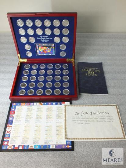 Complete BU Statehood Quarter Set in Beautiful Hard Wood Display Book & Guidebook