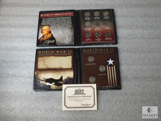 Two Nickel Sets: Type Set of 20th & 21st Centuries & WWII P-D-S Silver Set in Display Folders