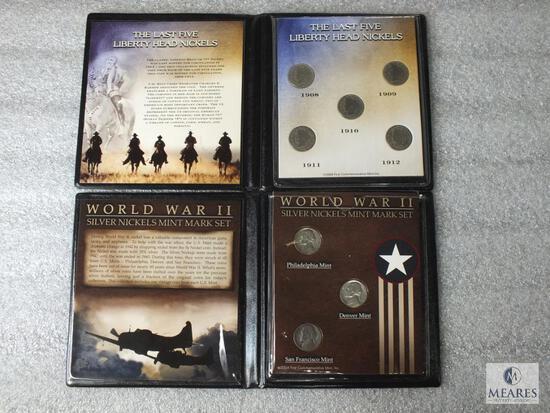 Two Nickel Sets: Last 5 Liberty Head Nickels & WWII P-D-S Silver Set in Display Folders