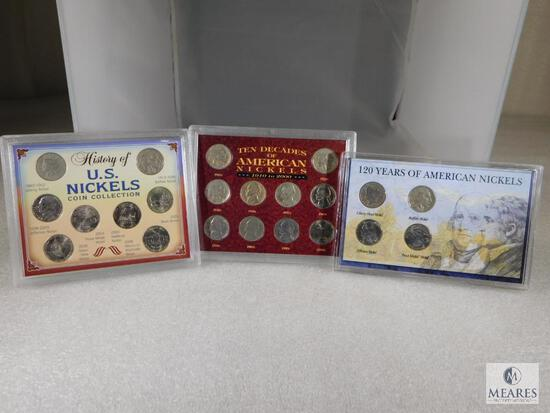 Three Different Nickel Sets in Display Cases including Buffalo & Liberty Nickels