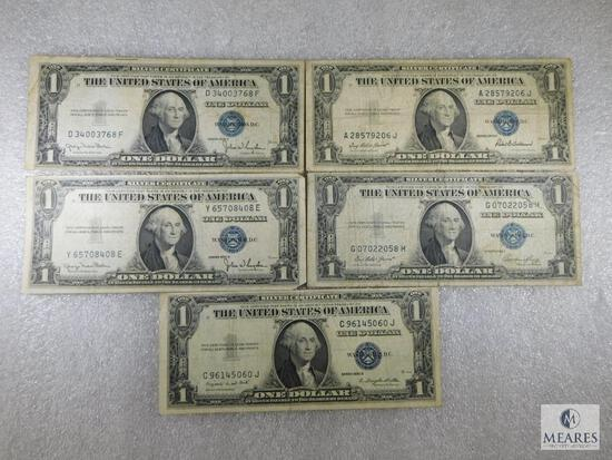 Group of Five US $1 Small-size Silver Certificates