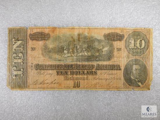 Confederate States of American $10 Note - Hand Ink Signatures and Numbering