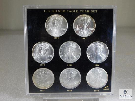 US Silver Eagle Set of Eight Coins - 1986 through 1993