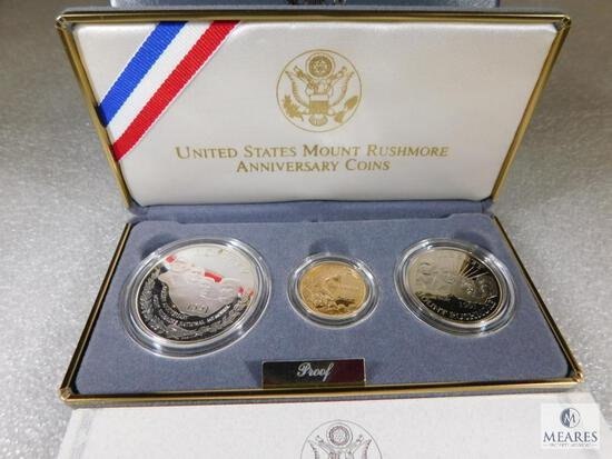 1991 US Mint Three-Coin Mount Rushmore PROOF Coin Set with Gold $5