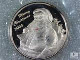 2003 Santa Claus Merry Christmas 1 Troy Ounce .999 Fine Silver Round