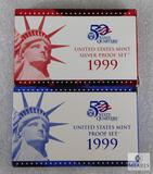 US Mint 1999 Silver Proof and Proof Coin Sets