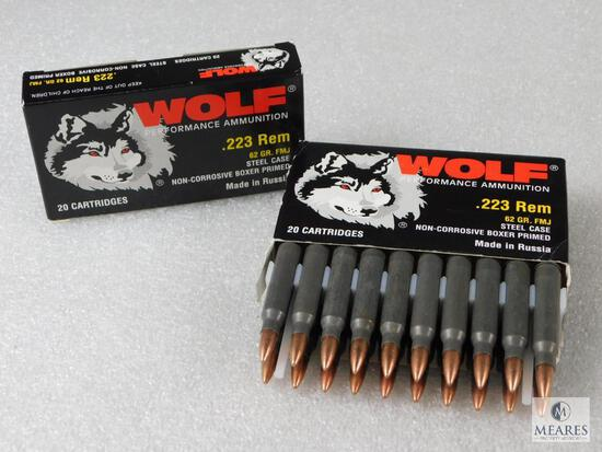 40 Rounds Wolf Performance Ammunition .223 Rem 62 Grain FMJ Steel Case Non-Corrosive Boxer Primed