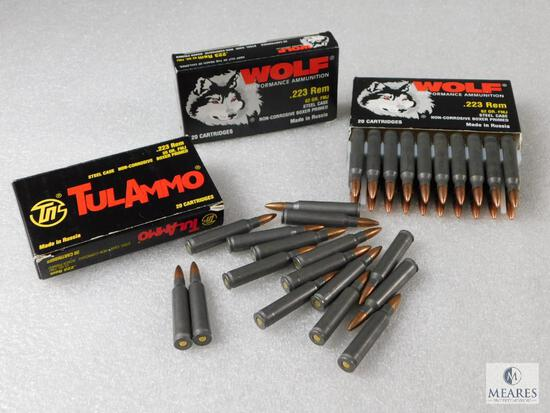 60 Rounds Wolf Performance Ammunition .223 Rem 62 Grain FMJ Steel Case Non-Corrosive Boxer Primed