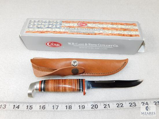 New Case XX Skinner Knife SS FX BLD 5 Brown Leather Sheath #00382