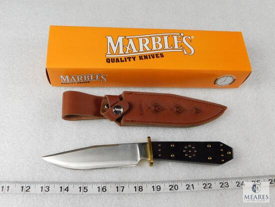 New Marbles MR200 Fixed Blade Knife Wooden Handle w/ Leather Sheath