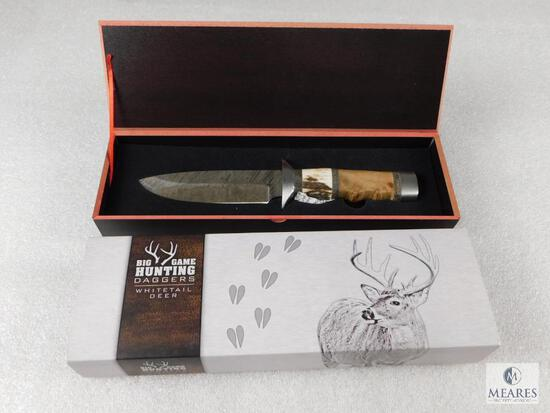 Big Game Hunting Daggers Whitetail Deer Fixed Blade Knife Damascus & Engraved Blade