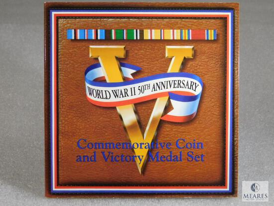 US Mint World War II 50th Anniversary Commemorative Coin and Victory Medal Set