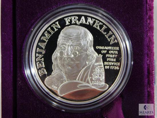 US Mint Ben Franklin Firefighters Silver Medal - Proof Silver Medal