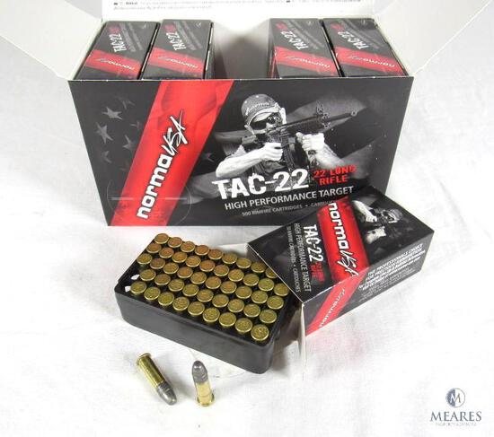 500 Rounds Norma USA TAC-22 .22 LR 40 Grain Lead Round Nose 1100 FPS Ammo