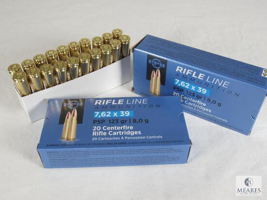 40 Rounds PPU Rifle Line 7.62x39 123 Grain Ammo