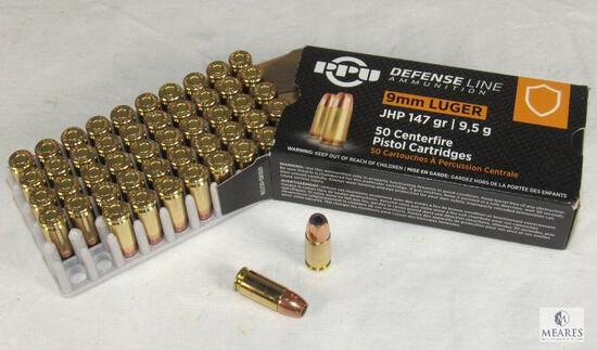 50 Rounds PPU Defense Line 9mm Luger 147 Grain JHP Self Defense Ammo