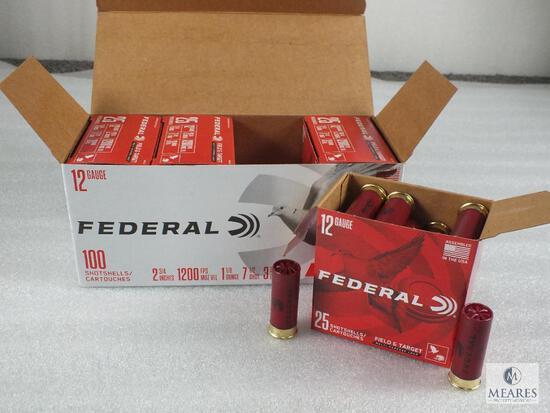 """100 Rounds Federal .12 Gauge Shotgun Shells. 2 3/4"""" #7.5 Shot 1200FPS"""