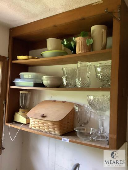 Mixed Cabinet Lot of Clear Glass and China Pieces