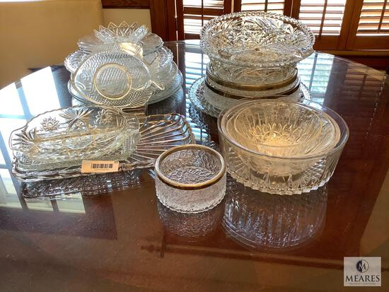 Mixed Lot of Clear Pressed Glassware