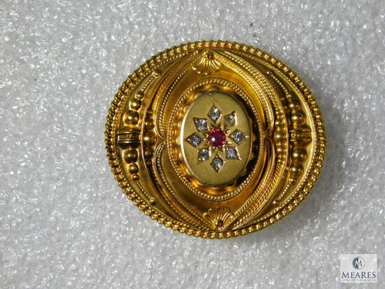 Antique Victorian 10K Yellow Gold Brooch/Pendent. Marked 375 C & Co.
