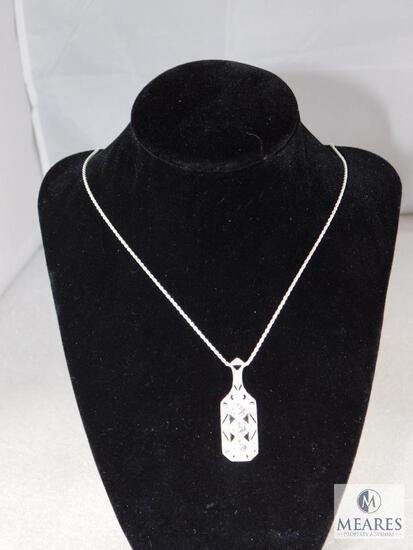Sterling And CZ Antique Style Pendant And Chain.