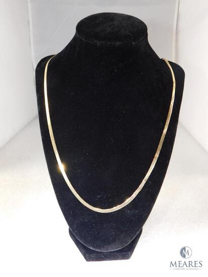 14K Yellow Gold Herringbone Necklace.