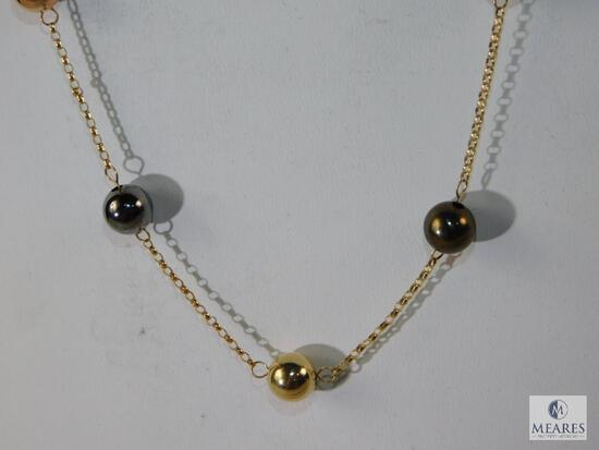 14K Multi-Colored Gold Ball Station Necklace