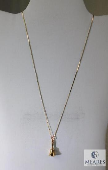 14K Yellow Gold Necklace and Bell Pendant.
