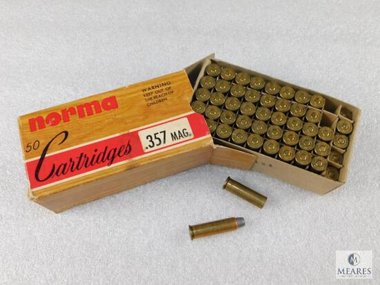 44 Rounds Norma .357 Mag 158 Grain Ammo + 6 Casings