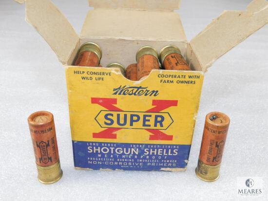 """25 Rounds Western Super X 16 Gauge 2-9/16"""" Cardboard Shells Vintage Box"""