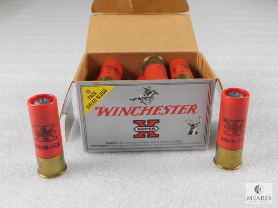15 Rounds Winchester 12 Gauge Rifled Slug Hollow Point Shells 1 oz Slug
