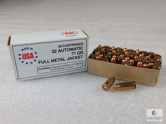 50 Rounds USA Made .32 Auto 71 Grain FMJ Ammo