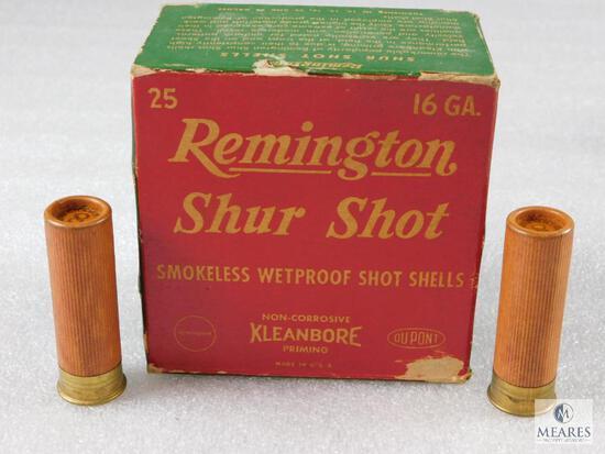 "25 Rounds Remington ShurShot 2-9/16"" Shotgun Shells Vintage Box Cardboard Shells"