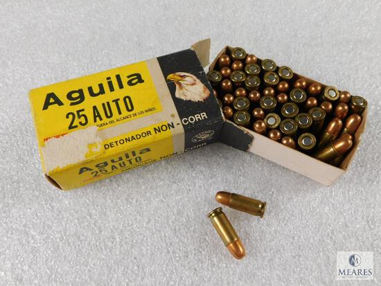 50 Rounds Aguila .25 Auto Ammo in Vintage Box