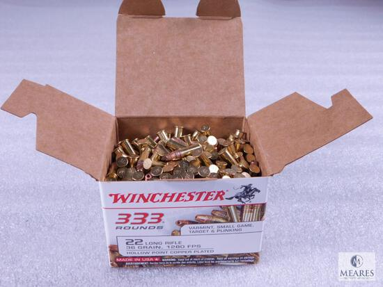 333 Rounds Winchester .22 Long Rifle Ammo. 36 Grain Hollow Point