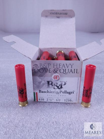 "25 Rounds B&P .410 Gauge Shotgun Shell. 2.5"" #6 Dove And Quail"
