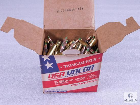 125 Rounds Winchester 5.56 M855 Green Tip Ammo. 62 Grain 3060FPS