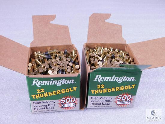 1000 Rounds Remington Thunderbolt .22 Long Rifle Ammo. 40 Grain (Two 500 Round Boxes)