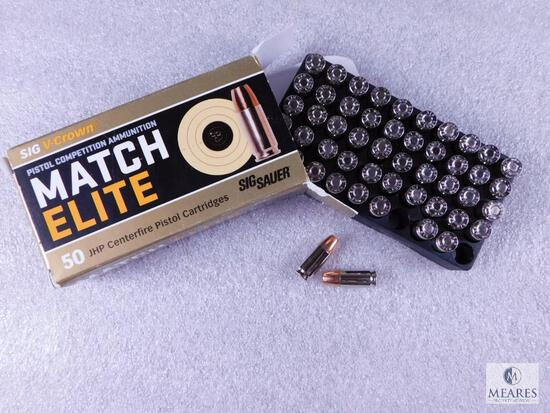 50 Centerfire Pistol Rounds Sig Sauer SIG V-Crown Match Elite 9mm Luger 147 Grain JHP Pistol