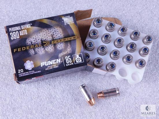 20 Centerfire Pistol Rounds Federal Premium Personal Defense PUNCH JHP 380 Auto 85 Grain