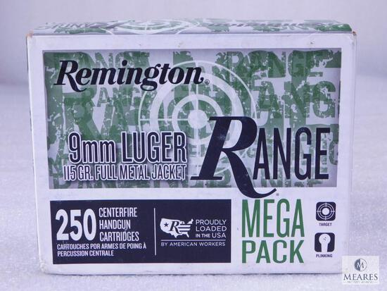 250 Centerfire Handgun Round Range Mega Pack Remington 9mm Luger 115 Grain FMJ